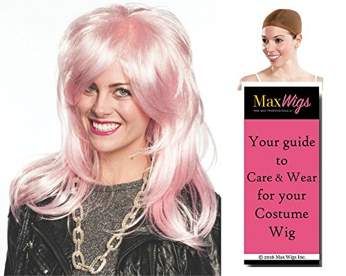 Jem Holograms Costumes (Bundle 3 items: Jem Holograms Jemmi Rock Star Benton Peeples Enigma Wigs Color Pink, Wig Cap, MaxWigs Costume Wig Care Guide)