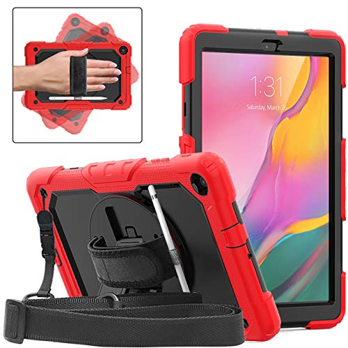 DUNNO Case for Samsung Galaxy Tab A 10.1 Inch 2019(SM-T510/T515) - Heavy Duty Full Body Cover with Built-in Kickstand & Built-in Screen Protector Shockproof Multiple Viewing Angles (Red/Black)