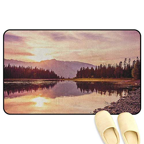 homecoco Landscape Office Chair Mat Grand Teton Mountain Range at Sunset Jackson Lake Calm National Park USA Peach Pale Yellow Indoor/Outdoor/Front Door/Bathroom Mats Rubber Non Slip W24 x L35 INCH