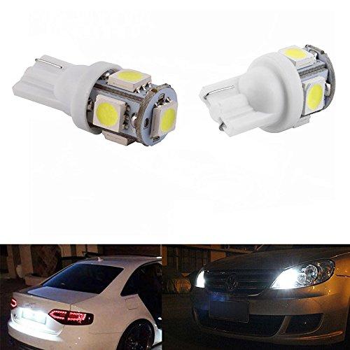 ESS TECH® 6500/8000k - Juego de bombillas LED para coche T10W5W, luz nocturna matrícula maletero, 5SMD 5050de color blanco, alta luminosidad luz nocturna matrícula maletero 5SMD 5050de color blanco Sengo