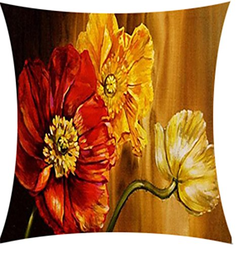QINU KEONU Oil Painting Flower Red and Yellow Poppy Cotton Linen Throw Pillow Case Cushion Cover Home Sofa Decorative 18 X 18 Inch (2)