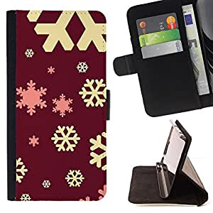 PINK RED WINTER SNOWFLAKE YELLOW CHRISTMAS/ Personalizada del estilo del dise???¡Ào de la PU Caso de encargo del cuero del tir????n del soporte d - Cao - For Samsung Galaxy Note 4 IV
