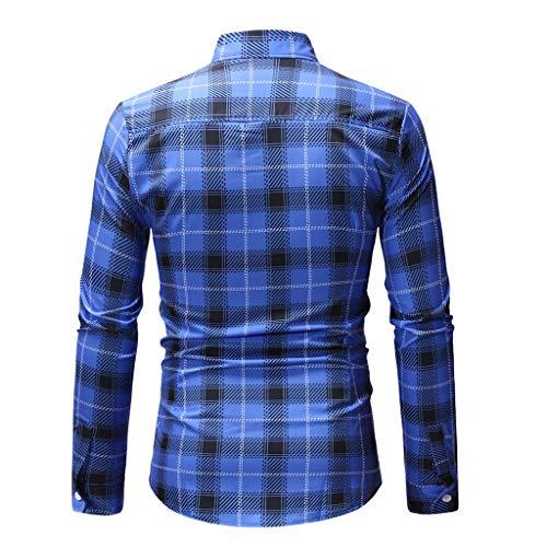 À Manche Cocktail Imprimé Carreaux Homme Haut Chemise Pour Slim Winjin Top Soirée Longue Travail Fit Vintage Tee Blouse Bleu De Shirt Casual Chemises zUnt7
