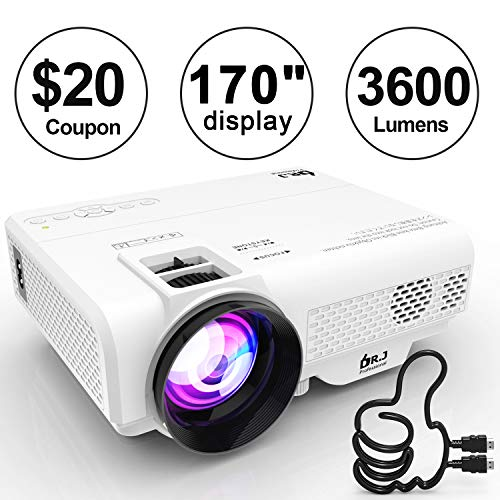 DR. J Professional 3600 Brightness Portable Video Projector 1080P Full HD Supported Mini Projector, TV Stick, HDMI, VGA, USB, TF, AV, Sound Bar, Video Games Compatible Latest Upgrade