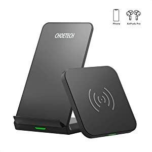 CHOETECH Wireless Charger (2 Pack),Qi-Certified 10W Max Fast Wireless Charging Pad Stand Bundle Compatible iPhone SE 2020/11/11 Pro/11 Pro Max/XS Max/XS/X, Samsung Galaxy S20+/Note 10, AirPods Pro