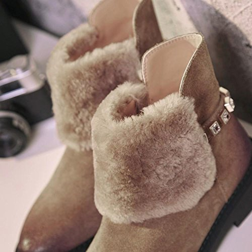 boots Winter diamond 120W warm color wax NSXZ APRICOT rubbing cowhide boots of women the dp0pq8wf