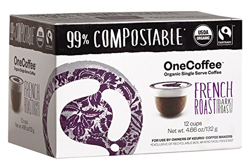 OneCoffee Organic French Roast Coffee 99% Compostable K Cup for Keurig Machines 12 Count