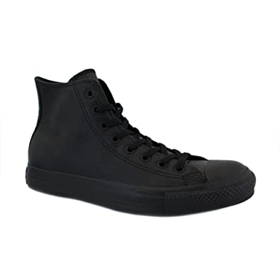 Converse All Star Leather 135251C Unisex Laced Leather Trainers Black Black - 10