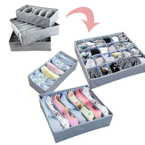 3 Pcs, 20-Cell, 7-Cell, 6-Cell Underwear Socks Ties Bra Drawer Organizer Storage Box,Bamboo Charcoal Abosrbs Moisture and Smell