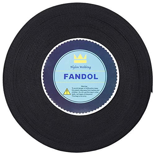 FANDOL Nylon Webbing - Heavy Duty Strapping for Crafting Pet Collars, Shoulder Straps, Seatbelt, Slings, Pull Handles - Repairing Furniture, Gardening, Outdoor Gear & More (1 inch x 10 Yards, Black)