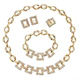 Moochi 18K Gold Plated Big Chain Crystal Necklace Jewelry Set