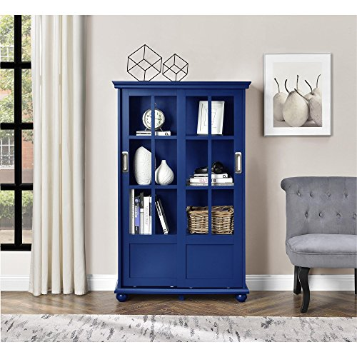 Ameriwood Home Aaron Lane Bookcase with Sliding Glass Doors, Blue by Ameriwood Home (Image #7)