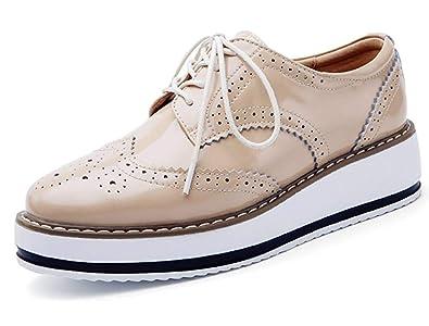 ce36bd2fa042 Minetom Femmes Brogues Chaussures de Ville à Lacets Derbies Baskets Cuir  Vernis Plateforme Antidérapant Rétro Oxford