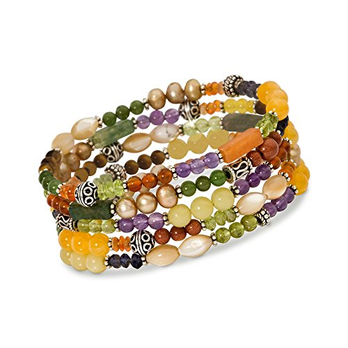 Ross-Simons Set Of Five Multi-Stone and Sterling Silver Bali Bead Stretch Bracelets With Cultured ()