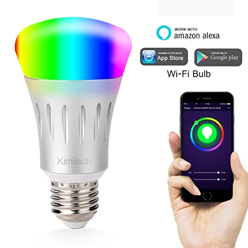 Kimitech Wi-Fi Smart LED Light Bulb Work with Alexa White and Dimmable Multicolored No Hub for IOS/Android /iPhone/iPad/Samsung/LG