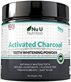 Activated Charcoal Natural Teeth Whitening Powder 180ml 90g | 50% More Premium Activated Charcoal Powder than Other Brands | Brilliant White Teeth | 100% Natural and Non Abrasive | Spearmint Flavour by Nu U Nutrition