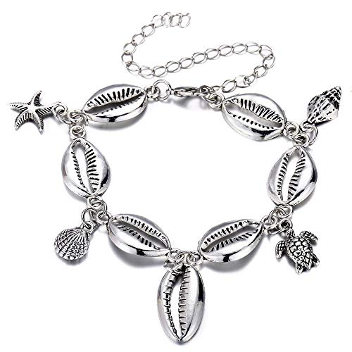 FINETOO Blue Starfish Turtle Anklet Multilayer Charm Beads Sea Handmade Boho Anklet Foot Jewelry for Women (K:Shell) ()