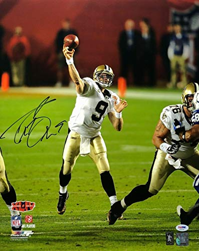 (Signed Brees Photograph - 16x20 *SB XLIV MVP AA62358 - PSA/DNA Certified - Autographed NFL Photos)