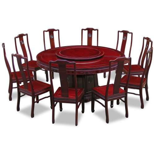 China Furniture Online 66in Rosewood Longevity Design Round Dining Table with 10 Chairs ()