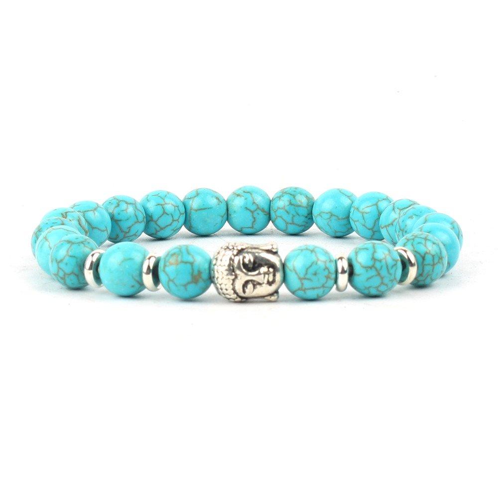 Shinus Bracelets Women Men Chakra Handmade Charm Boho Turquoise Lava Stone Mala Beaded Healing Fashion Wrist Stretch Jewelry