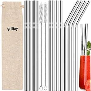 grilljoy 13 pz Cannucce riutilizzabili in metallo - Cannucce in acciaio inossidabile da 8,5 pollici - Compatibile con… 10
