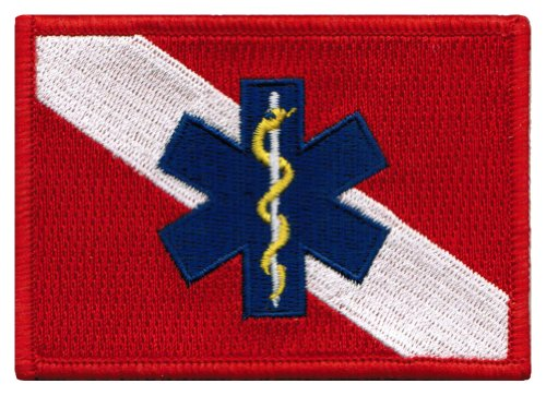 Scuba Patch - Rescue Diver Flag Embroidered Patch EMT EMS Star of Life Scuba Diving Iron-On Emblem