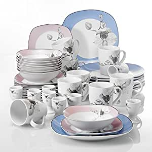 VEWEET 40-Piece Ceramic Dinnerware Set Square White Stoneware Dessert Plate Sets Plate and Bowl  sc 1 st  Amazon.com : square stoneware dinnerware sets - pezcame.com
