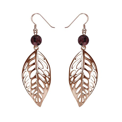 Sterling Silver Free Leaf Drop Earrings in Various Colors for Women