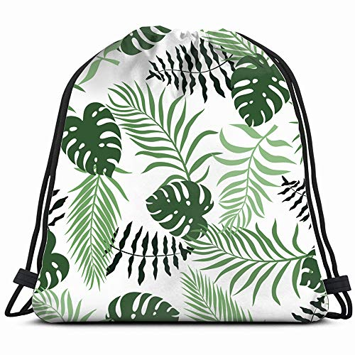 Tropical Palm Leaves Floral Abstract Botanical Drawstring Bag Backpack Gym Dance Bag Reversible Flip Sequin Bling Backpack For Hiking Beach Travel Bags