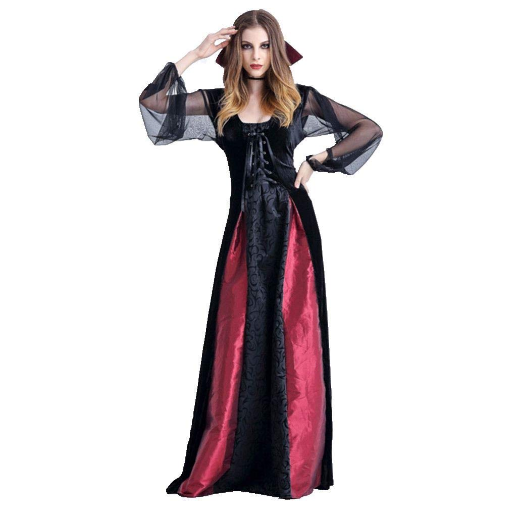 Smileyth Women Cosplay Long Dress Vampire Dress Halloween Witch Vintage Gothic Dress Fashion Yarn Long Sleeve Square Collar Lace Up Patchwork Role Play Party Costume