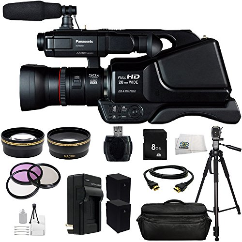 Panasonic HC-MDH2 AVCHD HCMDH2 Shoulder Mount Camcorder (PAL) + Huge SSE Accessories Bundle Including .43x Wide Angle Lens, 2.2x Telephoto Lens + More - International Version (No Warranty) by SSE