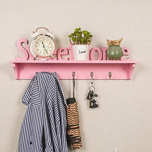 フローティング棚 浮遊壁の棚1つの層のホックの設計が付いている木製の壁に取り付けられた本の収納陳列台便利な掛かる項目60×9.5×20 cm LFOZ (Color : Pink, Size : Single hook)