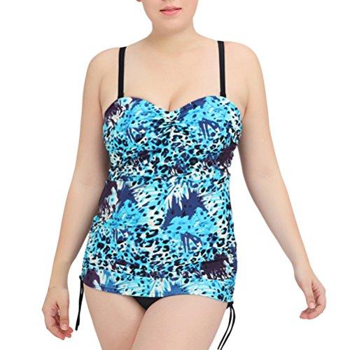 Zhuhaitf Alta calidad Comfortable Ladies Plus Size Backless Printing Bikini Swimwear Swim Costume Blue