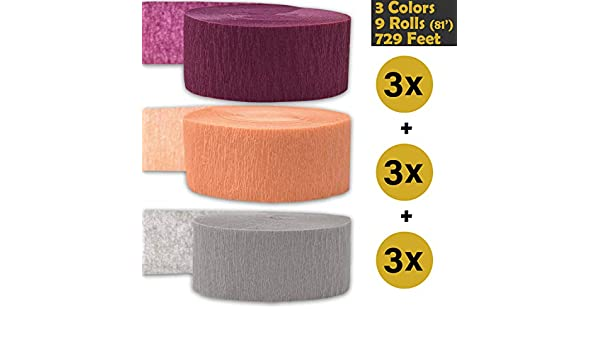 243 per color White 3 rolls per color, 81 foot each roll Brown 9 rolls Flame Resistant - For party Decorations and Crafts Bleed Resistant Made in USA Crepe Party Streamers 3 Colors 739 ft Orange