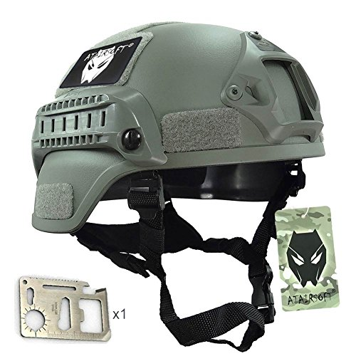 (ATAIRSOFT Tactical Airsoft Paintball MICH 2000 Helmet with Side Rail & NVG Mount FG)