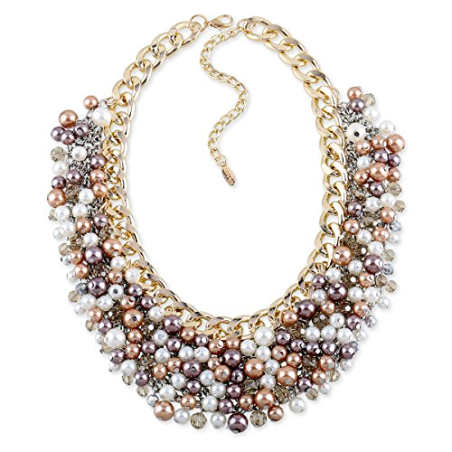 Fashion Women Big Faux Pearl Multi Strand Chunky Necklace Evening Jewelry Golden Chains Statement Pearl ()