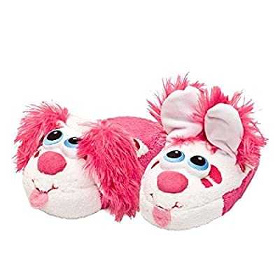 Stompeez Boys Girls Toddler House Slippers Perky Pink Puppy Kids Fur Lined Warm Slip On (Large): Toys & Games
