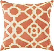 Amazon Brand – Ravenna Home Contemporary Geometric Pattern Throw Pillow - 20 x 20 Inch, Rust and Gold