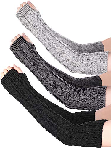 Bememo 3 Pairs Arm Warmers Winter Long Fingerless Gloves Knit Wrist Warmers with Thumb Hole for Women Girls (Color Set 4)