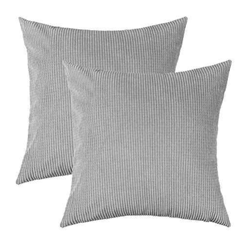 U-LOVE Pack of 2 Throw Pillow Covers Solid Supersoft Corduroy Corn Striped Cushion Cases 18 X 18 Inches for Couch Sofa Bed (Gray)
