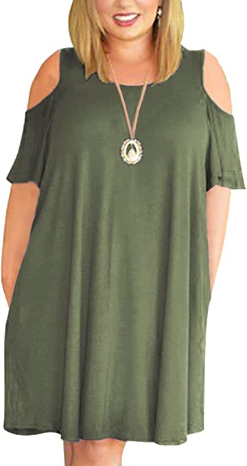 Women's Cold Shoulder Plus Size Casual T-Shirt Swing Dress
