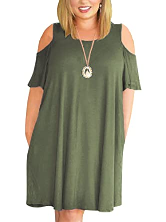 432bc19f7390 Nemidor Women s Cold Shoulder Plus Size Casual T-Shirt Swing Dress with  Pockets (14W