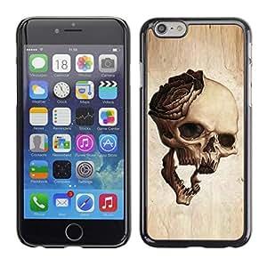 YiPhone /// Prima de resorte delgada de la cubierta del caso de Shell Armor - Skull Rose Metal Rock Roll Music Beige - Apple iPhone 6