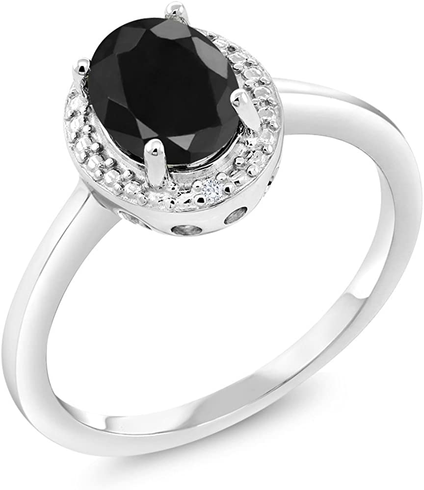 Silver woman ring 925 black and white stones size 52
