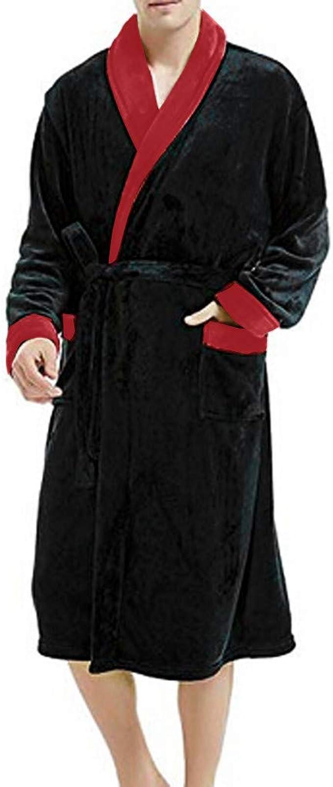 Mens Winter Plush Lengthened Shawl Bathrobe Home Clothes Long Sleeved Robe Coat Robe