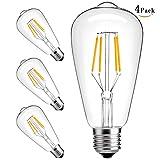 XIDING LED Edison Bulb, Pack of 4, 4W ST64 Warm Color 2300K, 40W Incandescent Equivalent, E26 Medium Base, Clear Glass, Vintage Style Light Bulb, Premium Antique LED Bulb for Restaurant, Office, Home