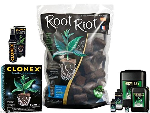 root riot 100 cubes refill bag & clonex 50ml & clonex mist 100ml & formulex 300ml GROWTH TECHNOLOGY