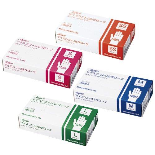 マイスコニトリルグローブ ホワイト  MY-7553(L)100【40箱単位】(24-4570-03) B06W2KBJK1