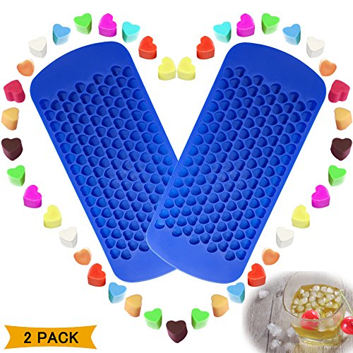 150 Grids Mini Silicone Ice Cube Trays Heart Shaped Candy Chocolate Molds, VIWIEU Small Ice Cubes Mold Maker 2 Pack Chill Your Drink Faster,Tiny Ice Works Great for Blender, Kitchen Bar Wine Gadgets