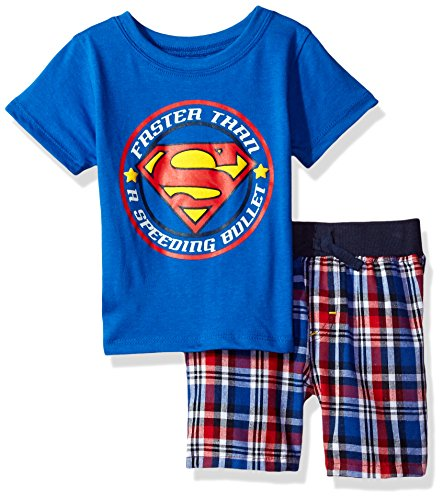 Warner Brothers Baby Boys' 2 Piece Superman Tee & Plaid Short Set, Blue, -